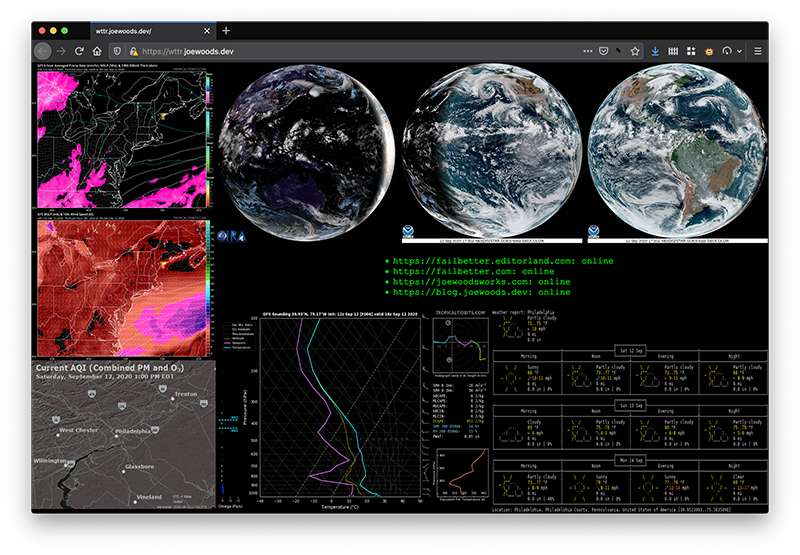 Screenshot of a dashboard displaying multiple widgets representing certain factors about the atmosphere, including but not limited to satellite images from multiple angles, and air quality, and temperature. Most widgets on the dashboard have been filtered to cause the text in the widget to appear as light text on a dark background, creating a unified 'moody hacker' aesthetic.